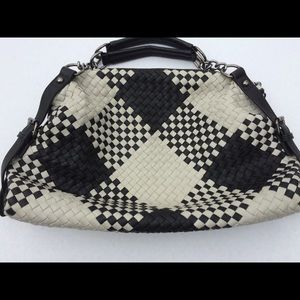 Lionel Black/Taupe Checkered Vegan Leather Satchel